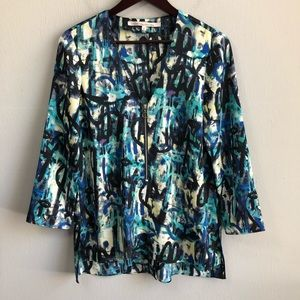 Rachel Roy zip front popover hi low blouse S.